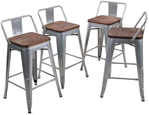 Amazon Com Tongli Metal Barstools Set Industrial Counter Height