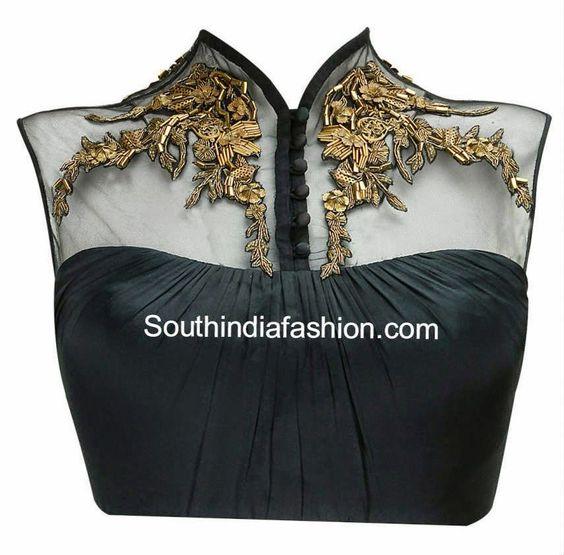 Trendy Net Blouse with Metallic Embroidery ~ Celebrity Sarees, Designer Sarees, Bridal Sarees, Latest Blouse Designs 2014