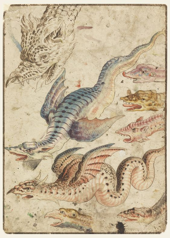 STUDIES OF A DRAGON, CA. 1560–1600 Recto: two winged snake-like dragons and six heads of each are shown. Verso: two men on horseback in classical armor, fleeing from a burning castle in Romanesque style. https://collection.cooperhewitt.org/objects/18359167/