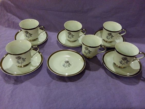 Vintage Royal Song Fine China Moonlight Rose Set of 6 Teacups / Tea Cups and Saucers Rare Pattern 5437-A Excellent Condition