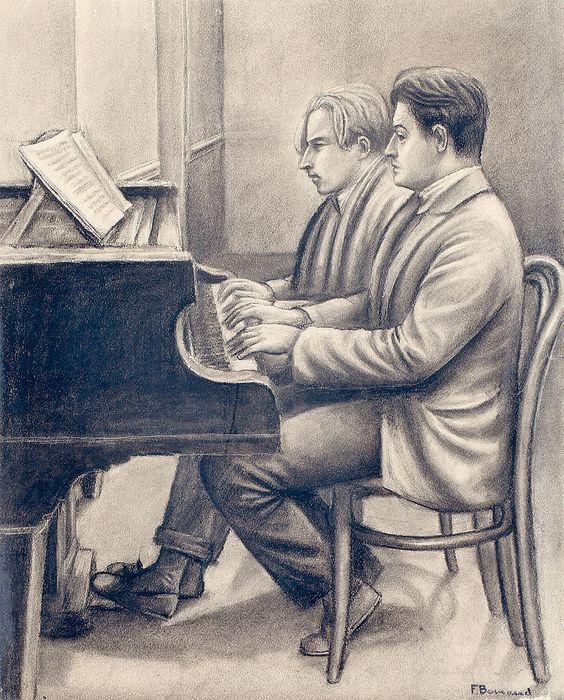 The Athenaeum - François Barraud and Albert Locca at the piano (François-Emile Barraud - )