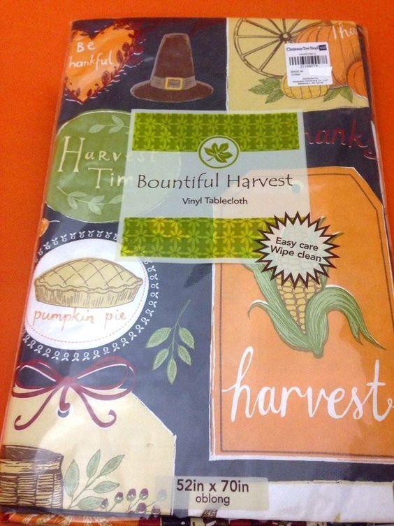 Merveilleux 52X90 Oblong Elrene Holiday Harvest Pumpkin Vinyl Flannel Tablecloth MULTI COLOR    Autumn Harvest   Pinterest   Autumn Harvest
