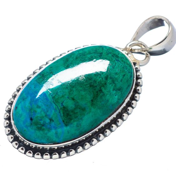 "Chrysocolla 925 Sterling Silver Pendant 1 1/2"" PD523402"