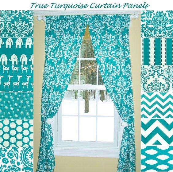 Turquoise Curtains,Aqua Curtains,Damask Curtains, Pair,Dandelion ...