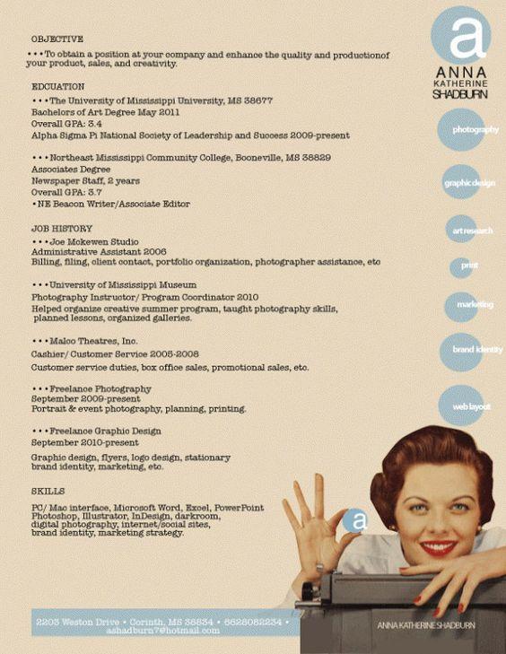 Graphic design / Photography / Marketing resume
