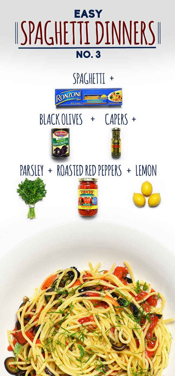 Spaghetti with Olive, Capers, and Roasted Red Peppers | 19 Delicious Spaghetti Dinners