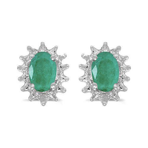 14K White Gold Oval Emerald and Diamond Earrings (.90ct tgw)
