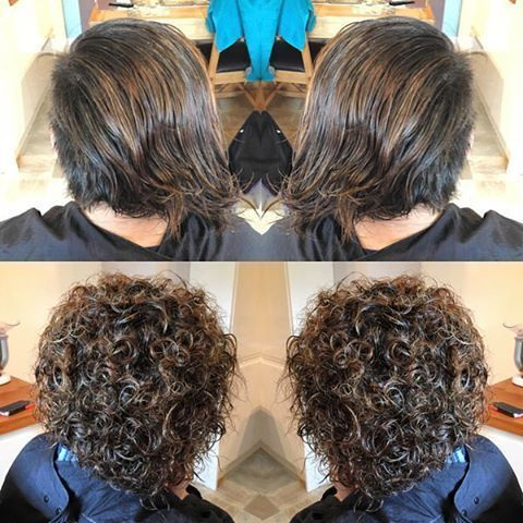 Perm Before And After In Shorter Hair Perms Mullets Permed Hairstyles Short Permed Hair Spiral Perm