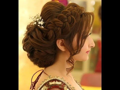 A Beautiful And Decorative Bun Hairstyle Done With Braids Medium Long Medium Hair Youtube Bridal Hair Buns Medium Hair Styles Indian Wedding Hairstyles