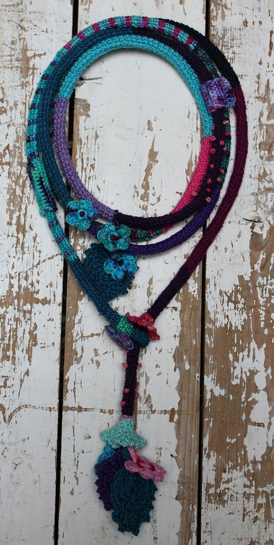 Colorful crochet necklace with flowers and leaves by LaRosaRosa, €50.00