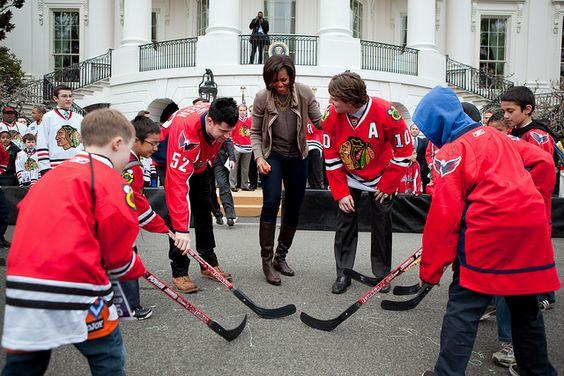 Street hockey session with FLOTUS