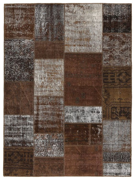 80x59 Inches Patchwork Rug  Dark Brown Color by PatchworkCarpet, $339.00