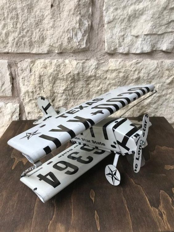 Texas License Plate Biplane Airplane Art Sculpture