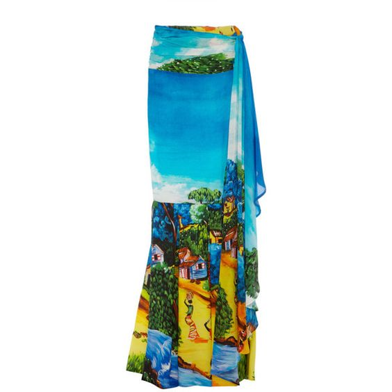 Stella Jean Stambecco Mermaid Skirt ($1,620) ❤ liked on Polyvore featuring skirts, multi, long pleated skirt, mermaid maxi skirt, patterned maxi skirt, blue maxi skirt and blue pleated maxi skirt