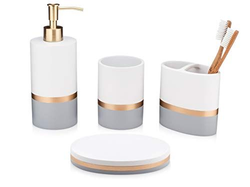 Essentra Home Day And Night Collection 4 Piece Bathroom Accessory