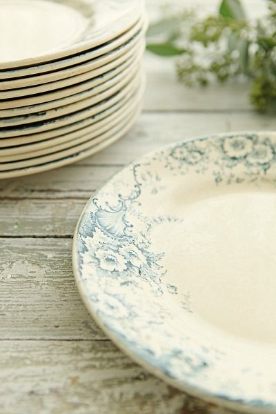 Some antique plates in soft colors and no directional design so you don't have to worry about whether the plates are upside-down or not when you're setting the table!