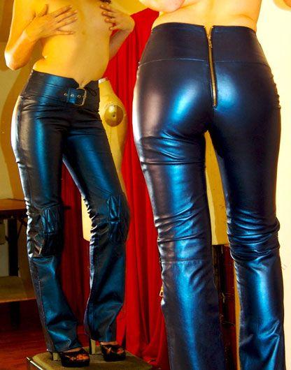 Model PU Women Black Long Pencil Pants U Zipper Pant Causual Caprisin Pants