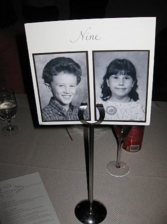 table numbers with pictures of bride/groom at that age