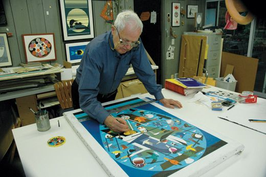 We Think the World of Birds for Cornell Lab of Ornithology at Sapsucker Woods by Charley Harper (in studio)