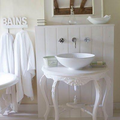 Serene Seneca  Light and Calming Bathrooms   victorian table with bowl bathroom sink. Serene Seneca  Light and Calming Bathrooms   victorian table with