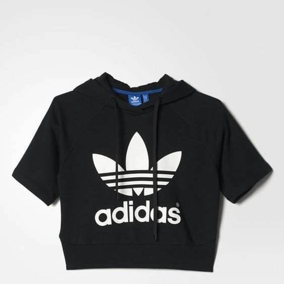 adidas Running Crop Hoodie (£45) ❤ liked on Polyvore featuring tops, hoodies, shirts, blusas, crop tops, adidas, crop top, hooded sweatshirt, short sleeve hoodies and hooded pullover sweatshirt