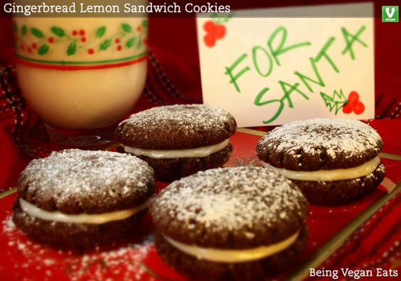 """Gingerbread Lemon Sandwich Cookies"" If Santa is looking for an easy time sliding down all those chimneys . . . he's out of luck! These ""Gingerbread Lemon Sandwich Cookies"" are going to make his descent a little snug. Ho! Ho! Doh! What you'll n"