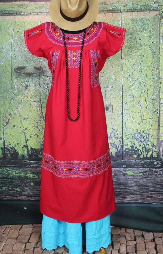 Red & Multi Color Embroidered Dress Santo Domingo Albarradas, Mexico Boho Hippie #Handmade #blouse