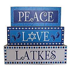 image of Peace, Love, Latkes Decorative Hanukkah Sign