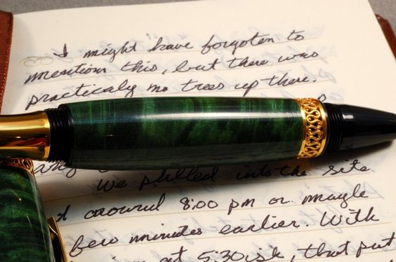 Wood Rollerball Pen in Green Dyed Chestnut
