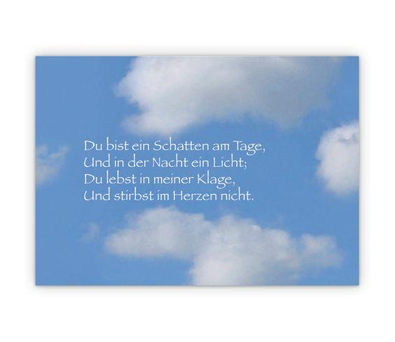 kondolenzkarte mit trauerspruch vor himmel - http://www