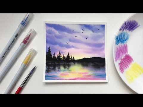 Forest Sunset Watercolor Painting For Beginners Using Brush Pens