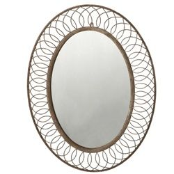 Distressed Wash Scroll Wire Oval Shaped Wall Mirror