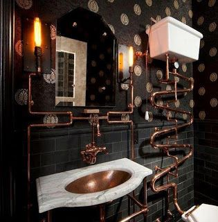 Steampunk bathroom- love the pipes; not so sure about the marble sink