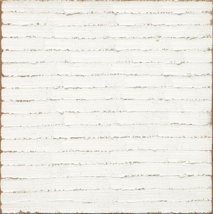 Untitled (1965) all-white painting by the American artist Robert Ryman. One of my favorite monchrome painters. Interesting use of texture to create light and shadow within a flat surface.