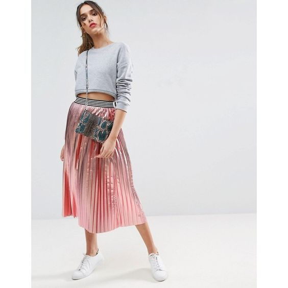 ASOS Pleated Skirt in Metallic with Sports Waistband (61 CAD) ❤ liked on Polyvore featuring skirts, pink, knee length pleated skirt, pleated midi skirt, high waisted knee length skirt, high-waisted skirts and pink midi skirt