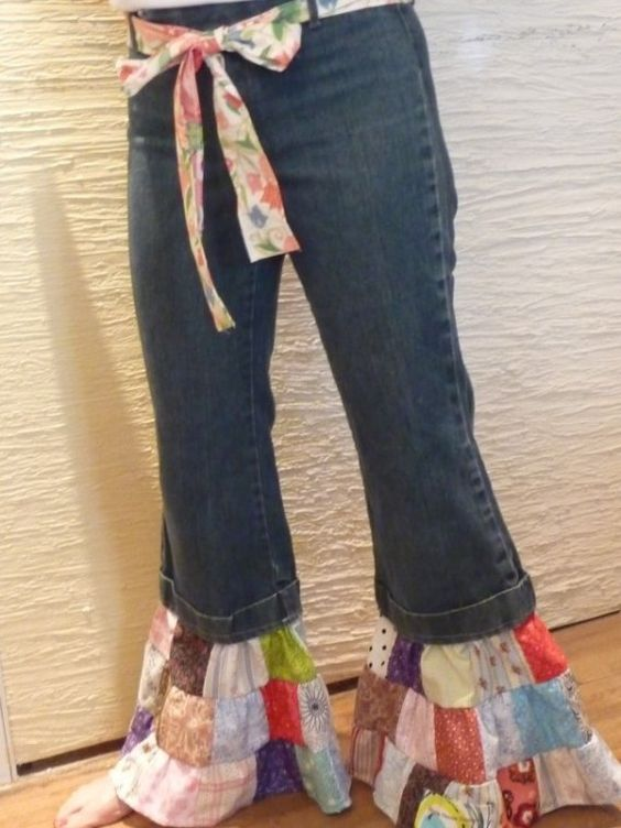 Patchwork Pants, Upcycled Jeans, Patchwork Legs, Upcycled Pants, Bell Bottom Pants, Misses Jeans, Multi Colors,Handmade Belt,Unique Clothing