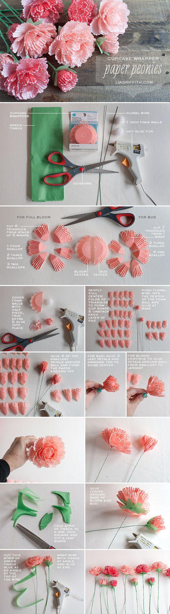 Cupcake Liner Peonies Tutorial: