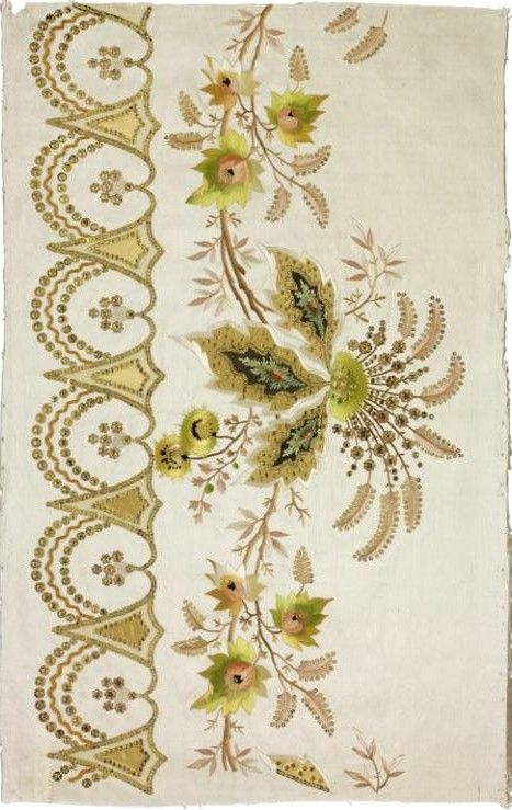 Jean-François Bony, embroidery sample for a dress hem, silk taffeta, satin and taffeta appliqués,  silk embroidery, 1804-1815