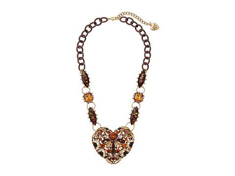 Betsey Johnson Hollywood Leopard Heart Stone Pendant Necklace Hollywood Glam Collection