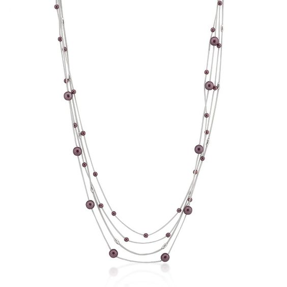 White Gold Rhodium Bonded 12 Inch #Layered Necklace with Purple Accents in a Silvertone 12 inch L x 7.8 (mm) W x 7.8 (mm) H. Purple orbs in varying sizes accent this layered #necklace.