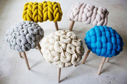 Elementos decorativos con tejidos de punto