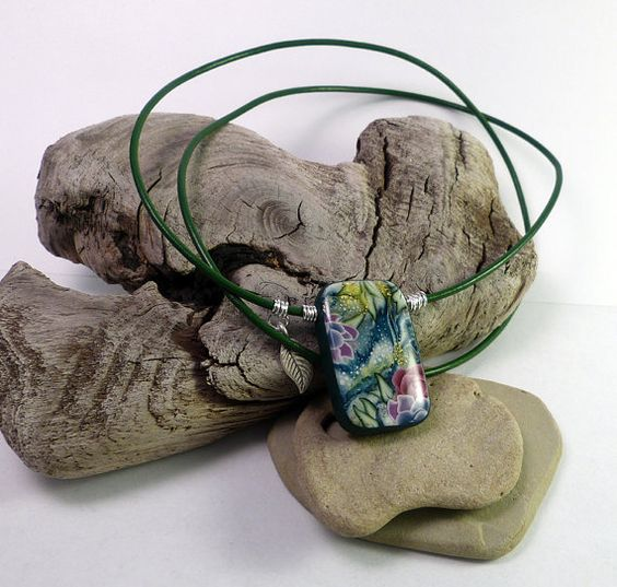Beyond dreams  oneofthekind polymer clay pendant by rasaom on Etsy, $42.00