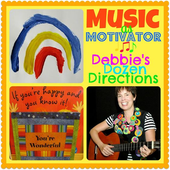 MUSIC as Motivator: Debbie's Dozen Directions, top 12 suggestions from Debbie Clement on integrating music into your classroom