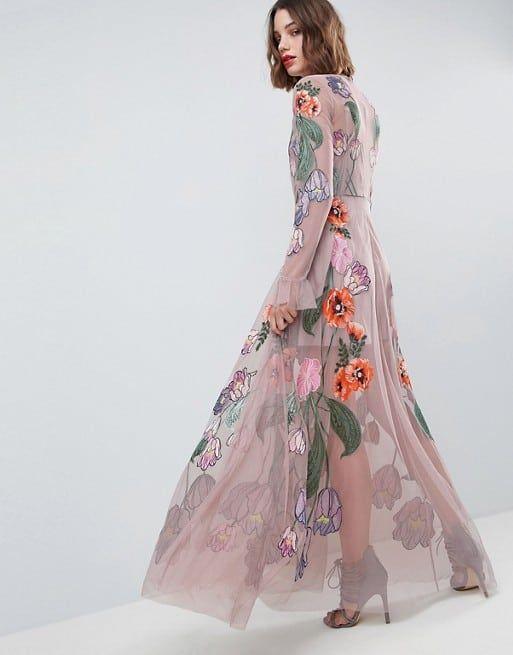 Long Sleeve Embellished Floral Mauve Maxi Dress Wedding Guest Dress Cute Long Sleeve Dresses Occasion Maxi Dresses