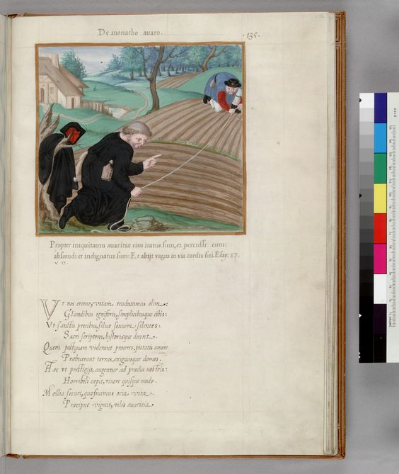 "f. 136 Description: ""De monacho avaro"" of a monk with a girdle book at his belt measuring a plot of land."
