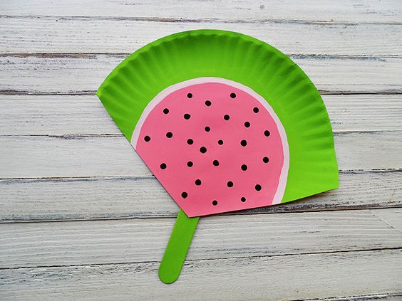 Watermelon fan: Just a paper plate and popsicle stick! Super easy craft for the kids