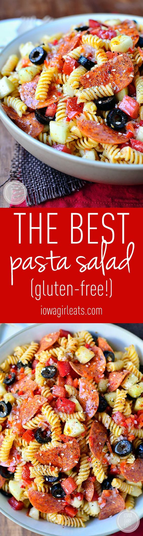 "The BEST Pasta Salad Recipe via Iowa Girl Eats - This ""is an old family recipe. Simple and simply the best (easily made gluten-free, too!)"" Easy Pasta Salad Recipes - The BEST Yummy Barbecue Side Dishes, Potluck Favorites and Summer Dinner Party Crowd Pleasers"