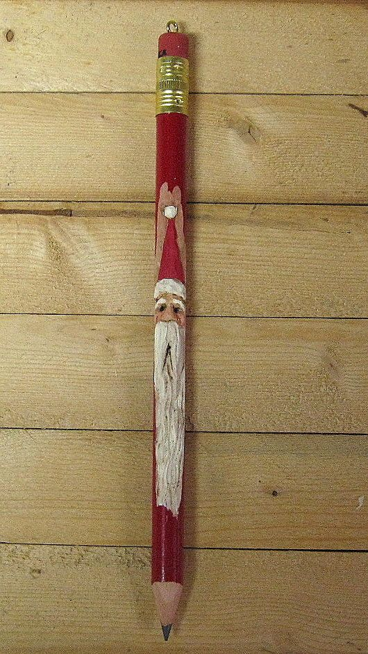Hand carved santa pencil christmas ornament