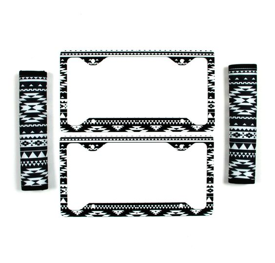 Black And White Aztec License Plate Frame & Seat Belt Cover Set Aztec Tribal Monogrammed Gifts Personalized Custom Cute Car Accessories by ChicMonogram on Etsy