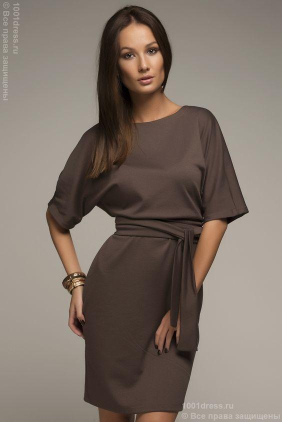 Платье цвета мокко летучая мышь с поясом и рукавом 3/4 DM00211BG , коричневый в интернет магазине Платья для самых красивых 1001dress.Ru